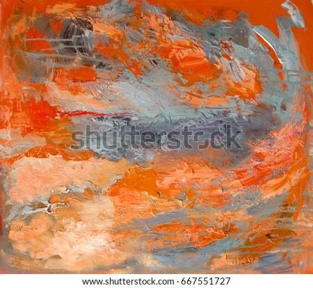 Abstract Textured Art Orange Gray Colors Stock Illustration