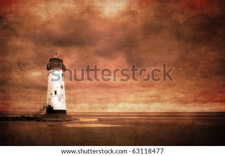 abstract textured image of Talacre lighthouse, north wales, uk for a vintage look in sepia tone - stock photo