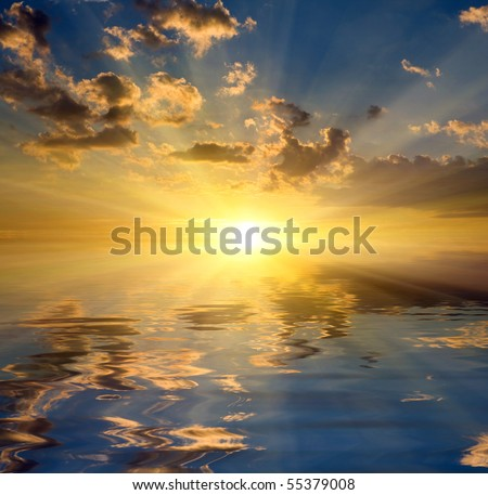 abstract theme with nice sunset over water