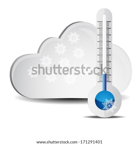 Abstract thermometer with clouds and snow