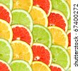 Abstract three-color background with citrus-fruit of grapefruit, orange and lemon slices. Close-up. Studio photography. - stock photo