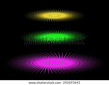 Abstract three colored UFO on a black background - stock photo