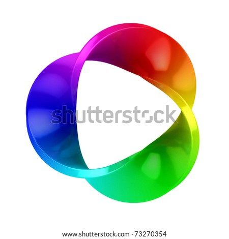 abstract three dimensional colorful shape isolated over white background - stock photo