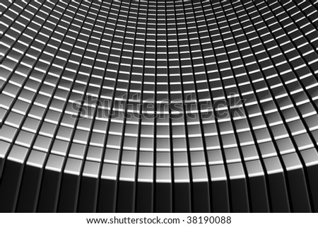 Abstract tiles silver aluminum background with reflection 3d illustration