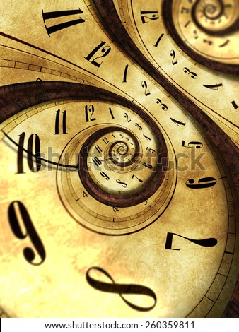 Abstract Time Background Concept Illustration. Twisted Vintage Clock. - stock photo