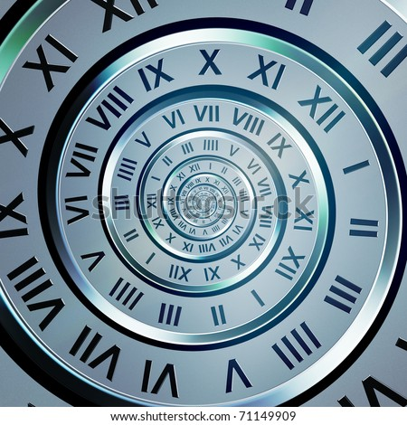 abstract time digits spiral on blue background - stock photo