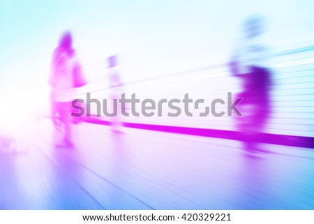 Abstract toned image of blurred people at subway station.  - stock photo