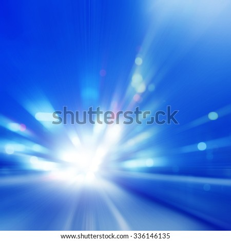 Abstract toned image of speed motion on the road at night. - stock photo