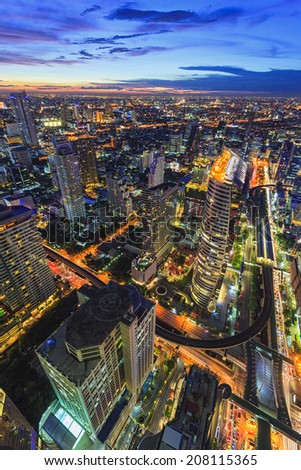 Abstract topview from center of Bangkok