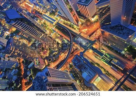 Abstract topview on building, center of Bangkok - stock photo