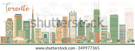 Abstract Toronto skyline with color buildings. Business travel and tourism concept with modern buildings. Image for presentation, banner, placard and web site. - stock photo