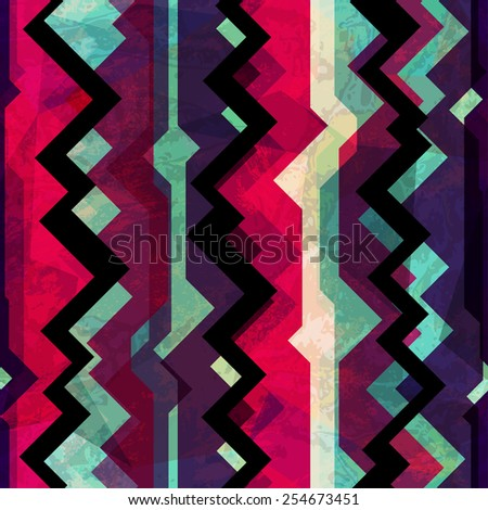 abstract totem seamless pattern with grunge effect (raster version) - stock photo