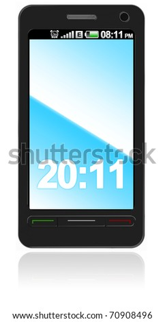 Abstract touch screen smart phone isolated on white - stock photo