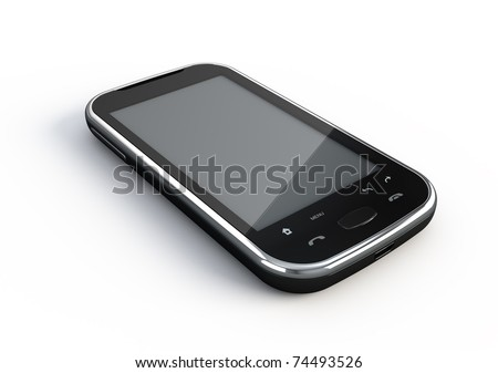 Abstract touchscreen smartphone - 3d render - stock photo