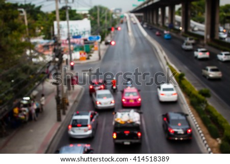 abstract traffic jams background with blurry shallow depth of focus.