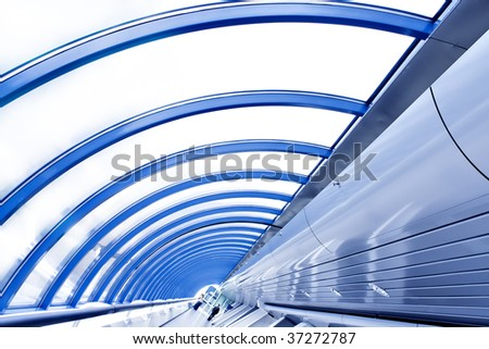 abstract transparent ceiling inside modern airport, may be used as background - stock photo