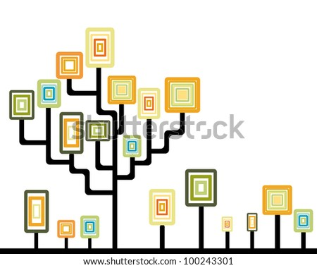 Abstract tree and plants with rounded square leaves