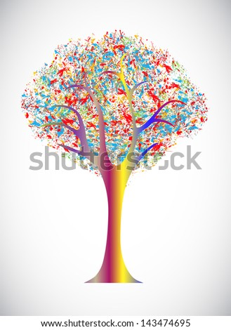 abstract tree from paint splashes