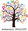 Abstract tree with colorful letters isolated on White background. illustration - stock vector