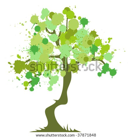 abstract tree with flowers - stock photo