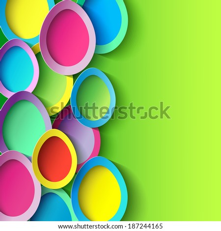 Abstract trendy background with colorful 3d Easter egg. Easter card with Easter egg. Beautiful stylish Easter background. Raster version