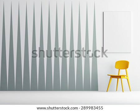 Abstract triangle pattern wall, mock up poster, 3d render - stock photo