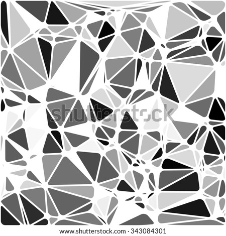 Abstract Triangle Polygonal Geometrical B&W Background, Illustration. Geometric design frame for business presentations, flyers, banners, brochures leaflets, web. Black White tile pattern - stock photo