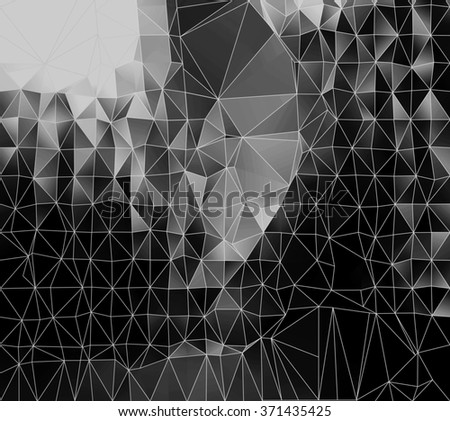 Abstract triangles black and white geometric background - stock photo