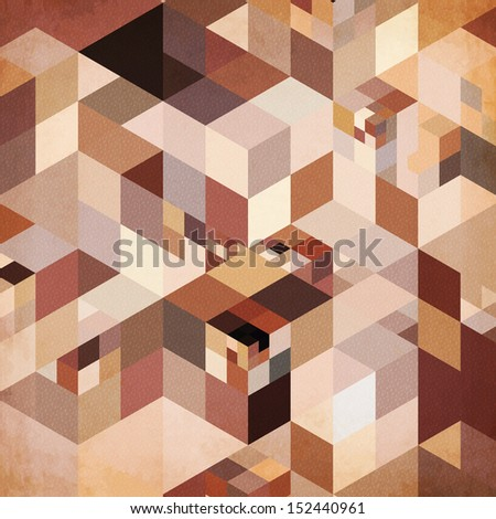 Abstract triangles geometry brown and gray background, raster illustration - stock photo