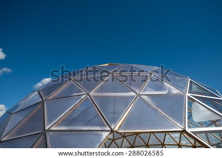 Abstract triangles windows with blue sky