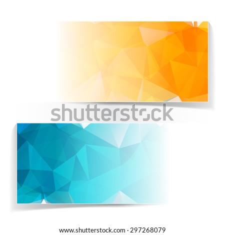 Abstract Triangular Polygonal banners set - stock photo