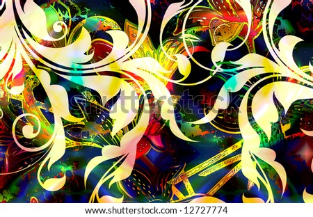 abstract tropical floral scroll design with distressed details and rainbow tye-dye - stock photo