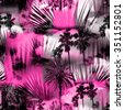 Abstract tropical pattern seamless on a floral background. Palm trees on a colorful pink backdrop. Photo collage clip-art with slow focus and layers effect. - stock vector