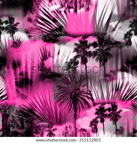 Abstract tropical pattern seamless on a floral background. Palm trees on a colorful pink backdrop. Photo collage clip-art with slow focus and layers effect. - stock photo