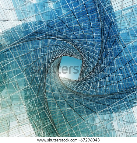 Abstract tunnel. High resolution 3d render - stock photo