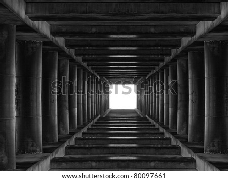 Abstract tunnel with light in the end - stock photo