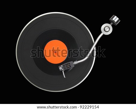 Abstract turntable part isolated on black - stock photo