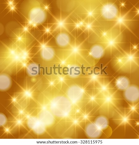 Abstract twinkled bright background with bokeh defocused golden lights. Holiday background. - stock photo