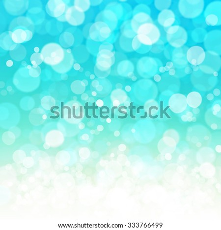 Abstract twinkled bright background with bokeh defocused lights. Cyan and white color. Glittering and shining image. - stock photo