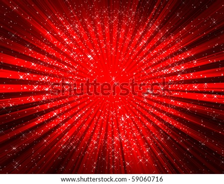 Abstract twirl rays with stars background - stock photo