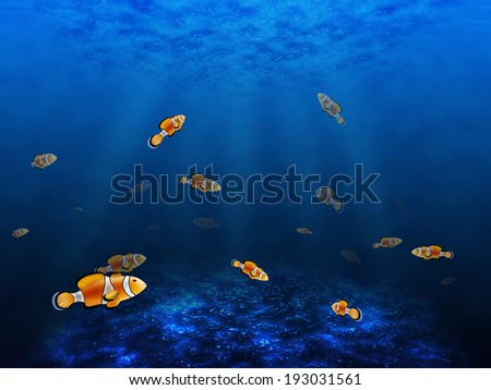 Abstract underwater with fish  - stock photo