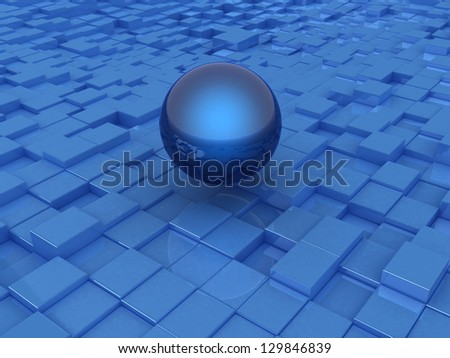abstract urban background and sphere - stock photo