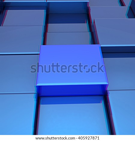 Abstract urban background (close-up). 3D illustration. Anaglyph. View with red/cyan glasses to see in 3D.