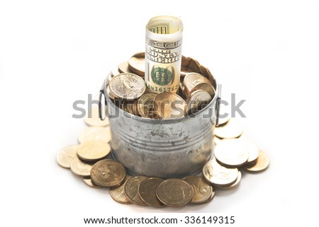 Abstract 100 US dollar notes grow out of pile of dollar coins over zinc pot with dollar coins overflown over white background