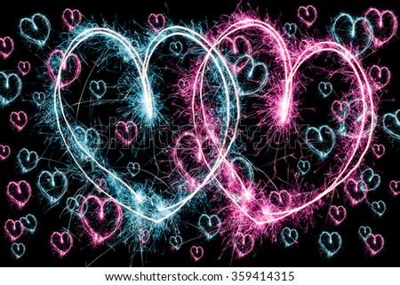Abstract Valentine's day glowing background - stock photo