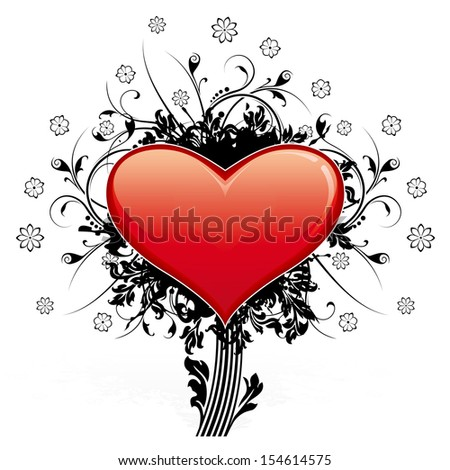 Abstract Valentine's Day Heart with floral decoration like tree