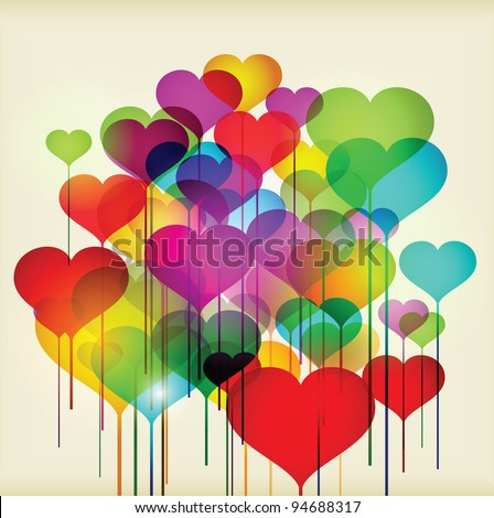 Abstract valentines day hearts - stock photo