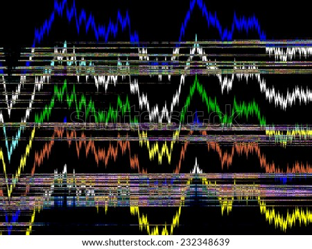 Abstract varicolored illustration of patterns of information, apparently, transmitted to us recently from an alien entity on a distant world, with implications for further terrestrial research - stock photo