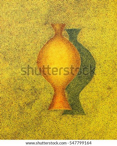 Abstract Vase Artwork Handmade Drawing Impressionist Stock
