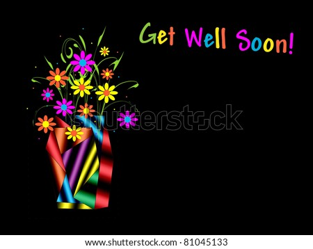 Abstract Vase With Flowers - Get Well Soon! - stock photo